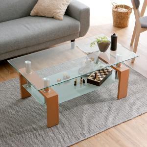 テーブル センター ガラス製 長方形 アジアン モダン サイドテーブ 木製脚 リビング ローテーブル シンプル 強化8mmの写真