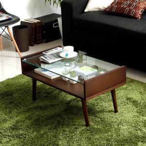 非日常的空間が貴女を包む!ガラスxウッドのお洒落なコーヒーテーブル!コンパクトなサイズ設計だからワン...