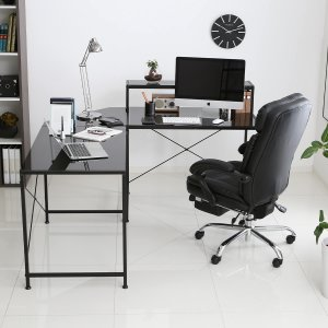 デスク パソコンデスク 机 幅100cm ライティング オフィス ラック L字 スチール製 ガラス天板 鏡面 コーナー PC 収納棚 おしゃれの写真