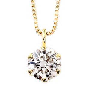 ダイヤモンド ネックレス 0.2カラット K18 イエローゴールド 一粒 6本爪 鑑別カード付き シンプル ダイヤネックレス ペンダント lowprice