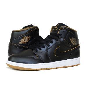 スニーカー メンズ ナイキ エア ジョーダン 1 ミッド NIKE AIR JORDAN 1 MID BLACK/METALLIC GOLD/WHITE メンズ スニーカー シューズ 靴 黒 554724-042|lowtex