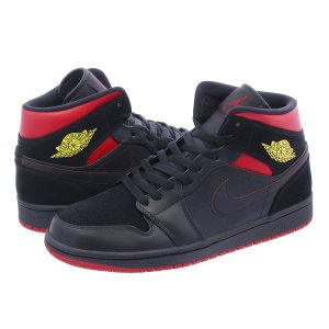 スニーカー メンズ ナイキ エア ジョーダン 1 ミッド NIKE AIR JORDAN 1 MID LAST SHOT BLACK/VARSITY RED/YELLOW 554724-076|lowtex