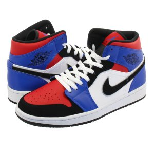 NIKE AIR JORDAN 1 MID 【TOP3】 ナイキ エア ジョーダン 1 ミッド WHITE/BLACK/HYPER ROYAL/UNIVERSITY RED 554724-124|lowtex