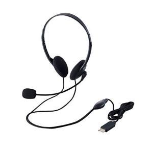 人気・エレコム ヘッドセット マイク USB 両耳 オーバーヘッド 1.8m HS-HP27UBK|ls-store