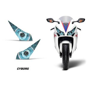 AMR Racing ヘッドライト アイ グラフィック デカール ステッカー CYBORG BLUE Honda CBR1000RR 12-16|ltandpjapan