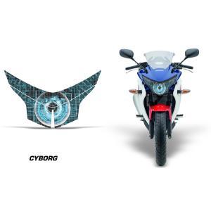 AMR Racing ヘッドライト アイ グラフィック デカール ステッカー CYBORG BLUE HONDA CBR250R MC41 -2013|ltandpjapan