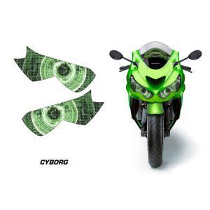 AMR Racing ヘッドライト アイ グラフィック デカール ステッカー CYBORG GREEN Kawasaki Ninja ZZR1400/ZX-14R 12-14|ltandpjapan