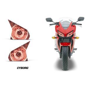 AMR Racing ヘッドライト アイ グラフィック デカール ステッカー CYBORG Honda CBR400R 13-15|ltandpjapan
