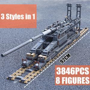 レゴ互換品 80cm列車砲 シュベーレ・グスタフ ドーラ列車砲 旧ドイツ軍 全長920mm 3846ピース|ltandpjapan