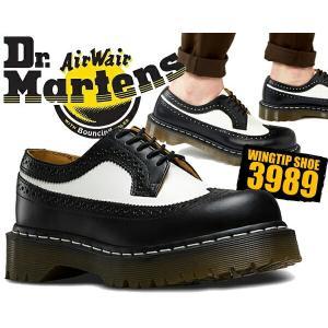 ドクターマーチン Dr.Martens Bex 3989 BROGUE SHOE BEX 34 F black&white ブラック ホワイト ツートン ウィングチップ 厚底 カジュアルシューズ  靴 レザー|ltd-online