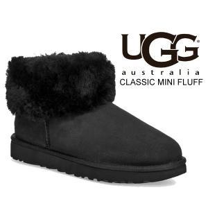 アグ ウィメンズ クラシック ミニ フラッフ ブーツ UGG WOMENS CLASSIC MINI FLUFF BLACK 1106757 レディース ツインフェイス シープスキン|ltd-online