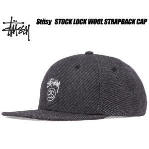 ステューシー キャップ STUSSY STOCK LOCK WOOL STRAPBACK CAP chacoal 6パネル ストラップバック 帽子 チャコール ウール 131734 Stssy ltd-online