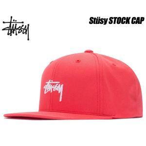ステューシー キャップ STUSSY STOCK SP18 CAP red 6パネル スナップバック 帽子 レッド 131780 Stssy ltd-online