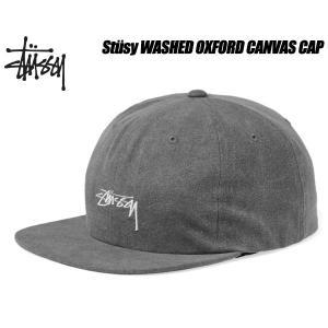 ステューシー キャップ STUSSY WASHED OXFORD CANVAS CAP black 6パネル スナップバック 帽子 ブラック グレー 131782 Stssy ltd-online