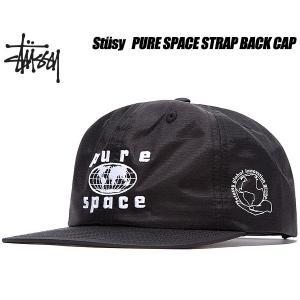 ステューシー キャップ STUSSY PURE SPACE STRAP BACK CAP black  6パネル ストラップバック 帽子 ブラック ナイロン 131810 Stssy ltd-online