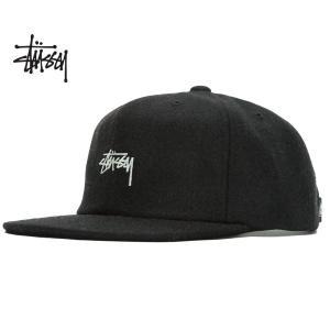 ステューシー Stssy キャップ STUSSY MELTON WOOL STRAPBACK CAP HO18 black 6パネル メルトン ウール 帽子 バックストラップ ブラック 131853 ltd-online