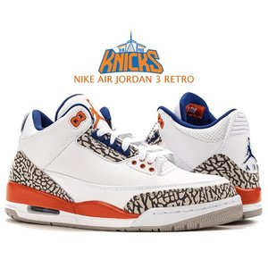 ナイキ エアジョーダン 3 NIKE AIR JORDAN 3 RETRO KNICKS white/old royal-univ orange 136064-148 スニーカー AJ3 04/08/88 ニューヨーク ニックス NEW YORK|ltd-online