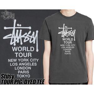 ステューシー Tシャツ STUSSY TOUR PIG. DYED TEE black 1904401 ブラック 黒 ピグメント加工 ワールドツアー WORLD TOUR|ltd-online