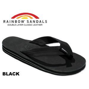 レインボーサンダル ダブルミッドソール RAINBOW SANDALS DOUBLE LAYER BLACK 302alts ブラック レザー サンダル メンズ トングサンダル 海 川 厚底|ltd-online