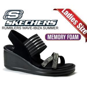 スケッチャーズ サンダル SKECHERS RUMBLERS-MODERN MAZE BLK 厚底サンダル レディース ウエッジソール ラインストーン ストラップ ウィメンズ ブラック|ltd-online