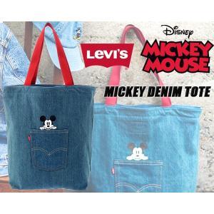 リーバイス ミッキー デニムトートバッグ LEVIS MICKEY DENIM TOTE BAG DENIM BLUE トート カバン デニム インディゴ ミッキーマウス|ltd-online
