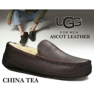アグ メンズ アスコット UGG MENS ASCOT LEATHER CHINA TEA モカシンシューズ メンズ ファー スリッポン ltd-online
