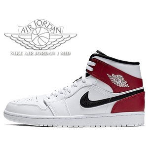 NIKE AIR JORDAN 1 MID white/black-gym red 554724-1...
