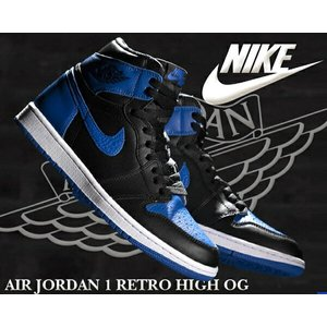 NIKE AIR JORDAN 1 RETRO HIGH OG ROYAL black/royal ...
