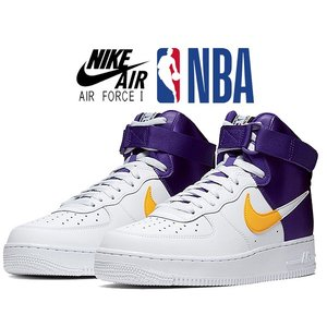 ナイキ エアフォース 1 ハイ NIKE AIR FORCE 1 HIGH 07 LV8 1 NBA PACK white/field pur-amarillo bq4591-101 AF1 LOS ANGELES LAKERS ロサンゼルス・レイカー|ltd-online