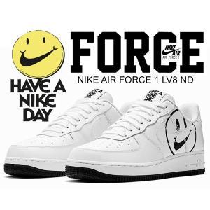 ナイキ エアフォース 1  NIKE AIR FORCE 1 LV8 ND Have A Nike Day white/white-black スニーカー ハブ ア ナイキ デイ ホワイト スマイル bq9044 100|ltd-online