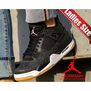 NIKE AIR JORDAN 4 RETRO SE(GS) black/white-gum lig...