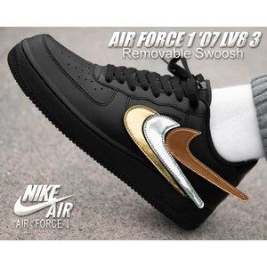 ナイキ エアフォース 1 07 LV8 3 NIKE AIR FORCE 1 07 LV8 3  REMOVABLE SWOOSH black/black-black-white ct2252-001 スニーカー AF1 シルバー ゴールド|ltd-online