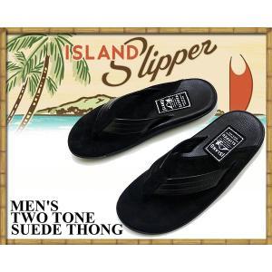 アイランドスリッパ ISLAND SLIPPER TWO TONE SUEDE THONG BLACK SANDAL PB205 レザー スウェード スエード トング メンズ ビーチ サンダル|ltd-online
