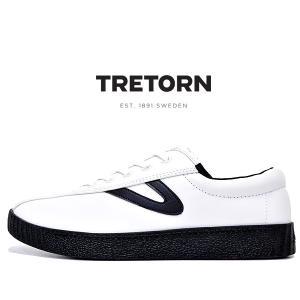 トレトン ナイライト 2 プラス レザー スニーカー TRETORN MT NYLITE 2 PLUS-B LEATHER VINTAGE WHITE/BLACK メンズ スニーカー レザー ホワイト ブラック|ltd-online