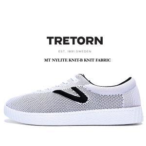 トレトン ナイライト ニットファブリック TRETORN MT NYLITE KNIT-B KNIT FABRIC WHITE+BLACK BASE/WHITE/BLACK メンズ スニーカー ニット カジュアル ホワイト|ltd-online