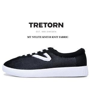 トレトン ナイライト ニットファブリック TRETORN MT NYLITE KNIT-B KNIT FABRIC BLACK+WHITE BASE/BLACK/WHITE メンズ スニーカー ニット カジュアル ブラック|ltd-online
