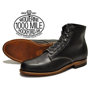 WOLVERINE 1000 MILE BOOT PLAIN TOE BOOT BLACK