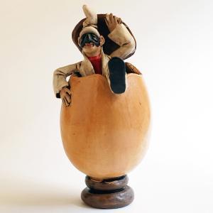 ナポリの幸運のお守り!卵から出るプルチネッラ-2|lucania-arti
