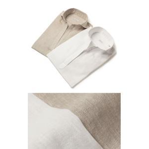 【LADIES】ORIAN ( オリアン ) / リネン コットン ドロップショルダー スキッパー シャツ【ホワイト/ベージュ】【送料無料】|luccicare
