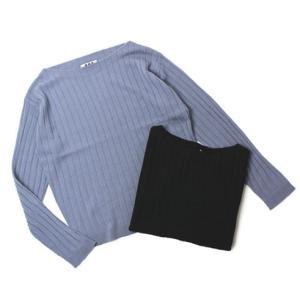 【LADIES】three dots ( スリードッツ ) / Extrafine Merino Rib Sweater / ウール ロングスリーブ ボートネック リブ ニット【サックス/ブラック】|luccicare