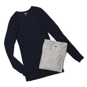 【LADIES】 three dots ( スリードッツ ) / 2×1 Viscose / ロングスリーブ クルーネック リブ Tシャツ【ネイビー/グレー】【送料無料】|luccicare