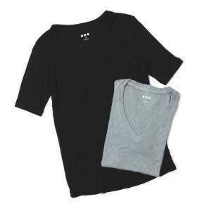 スリードッツ / three dots / Slub Rib / コットン レーヨン Vネック Tシャツ / セール / 返品・交換不可|luccicare