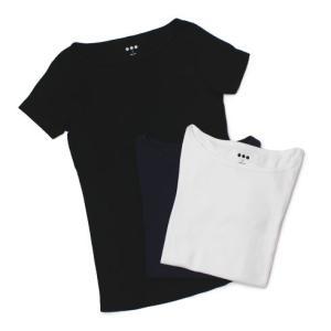 【LADIES】three dots ( スリードッツ ) / Ginger T  / コットン ボートネック Tシャツ【ホワイト/ネイビー/ブラック】【送料無料】|luccicare