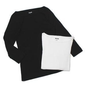 【LADIES】 three dots ( スリードッツ ) / 3/4slv Ginger T / コットン 七分袖 ボートネック Tシャツ【ホワイト/ブラック】【送料無料】|luccicare