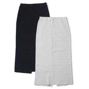 【LADIES】three dots ( スリードッツ ) / Smooth Cotton / バックスリット ロングスカート【ライトグレー/ネイビー】【送料無料】|luccicare