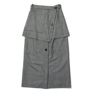 【LADIES】SAYAKADAVIS ( サヤカデイヴィス ) / ウール グレンチェック柄 ダブル レイヤード スカート【グレー】【送料無料】|luccicare