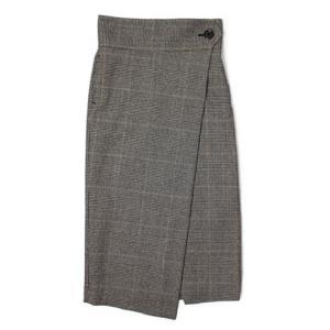 ラシュモン / Lachement / ウール グレンチェック柄 ラップ スカート / セール / 返品・交換不可|luccicare