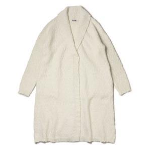 【LADIES】three dots ( スリードッツ ) / Mixed Wool Alpaca / ウール アルパカ ショールカラー ロング カーディガン【ホワイト】|luccicare