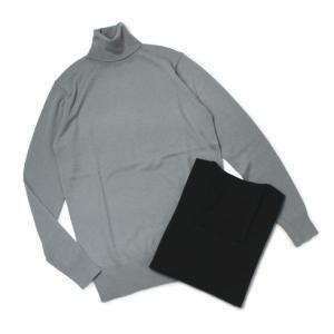 【LADIES】three dots ( スリードッツ ) / Merino Superfine / カシミヤタッチ ウール タートルネック セーター【ブルーグレー/ブラック】|luccicare