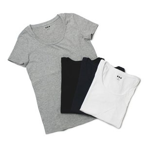 スリードッツ / three dots / Janis / コットン Uネック Tシャツ|luccicare